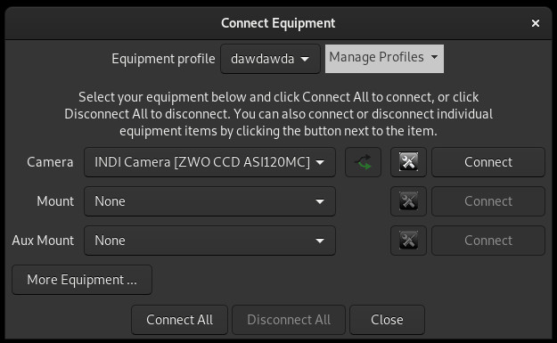 PHD2 equipment connection dialog